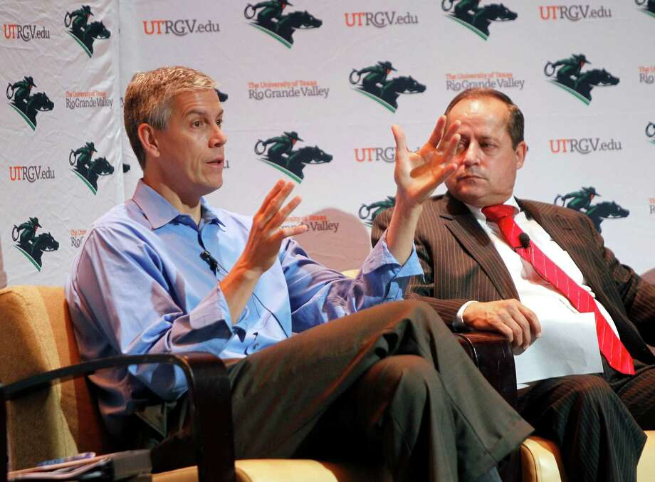 U.S. Education Secretary Arne Duncan, left, talks about the future of education as Pharr-San Juan-Alamo Independent School District Superintendent Daniel King sits beside him during a question-and-answer session with Duncan at the Hispanic Engineering Science and Technology week on Tuesday at the University of Texas Rio Grande Valley in Edinburg. Photo: Nathan Lambrecht /Associated Press / The Monitor