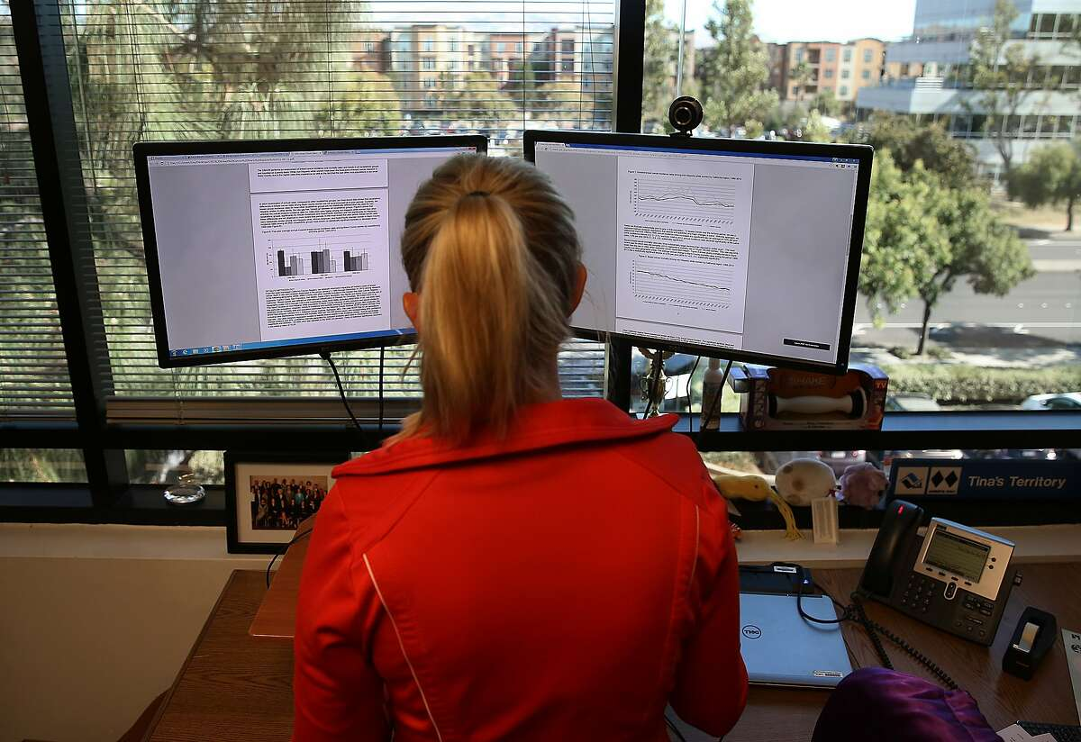 Doctor Tina Clarke, Ph.D., a scientist who tracks cancer rates in the bay area found declining rates of breast cancer in Marin County and shows the graphs at her office in Fremont, Calif., on Tuesday, October 6, 2015,