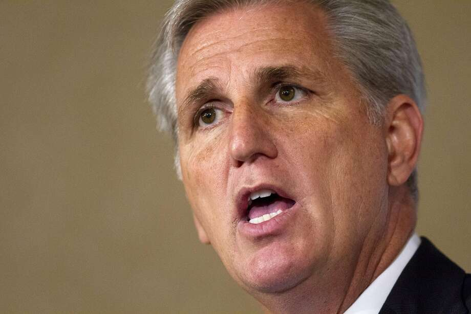House Majority Leader Kevin McCarthy, R-Calif., speaks in Washington, Monday, Sept. 28, 2015.  McCarthy announced Monday his candidacy for House Speaker, replacing the outgoing John Boehner. (AP Photo/Jacquelyn Martin) Photo: Jacquelyn Martin, Associated Press