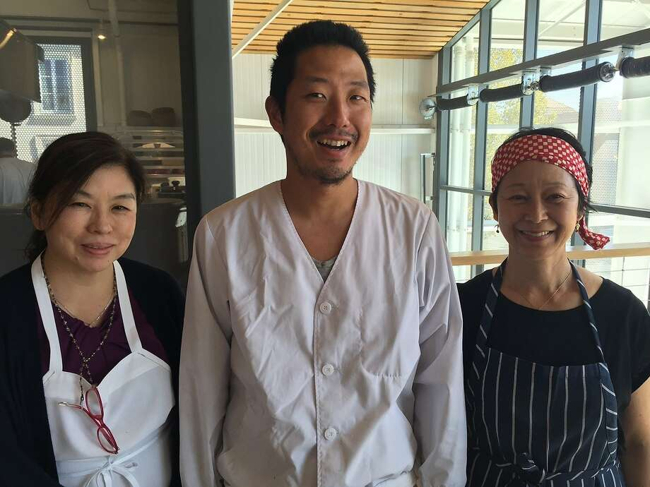 Tokyo soba master Toshiya Kotorii, center, with Sonoko Sakai, right, a Los Angeles Japanese cooking teacher with whom he is cooking soba dishes at Shed Healdsburg this week, and Mamiko Nishiyama. Photo: Tara Duggan