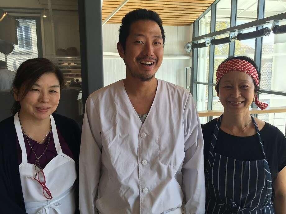 Tokyo soba master Toshiya Kotorii, center, with Sonoko Sakai, right, a Los Angeles Japanese cooking teacher with whom he is cooking soba dishes at Shed Healdsburg this week, and Mamiko Nishiyama. Photo: Tara Duggan