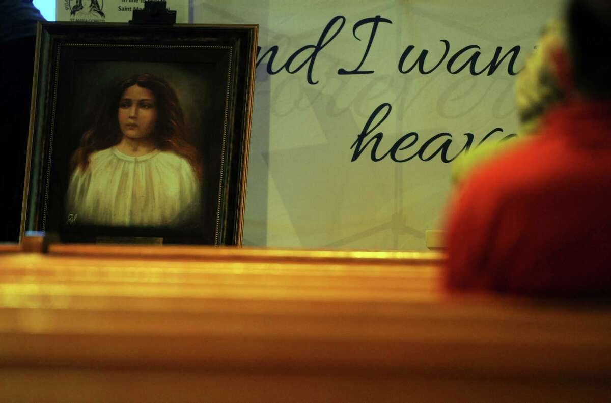 Pilgrimage of Mercy: Tour of the Major Relics of St. Maria Goretti makes its only Connecticut stop at St. Theresa Church in Trumbull Tuesday, Oct. 6, 2015. The relic is a glass-enclosed wax statue that contains nearly all of the bones of the saint, who died in 1902.