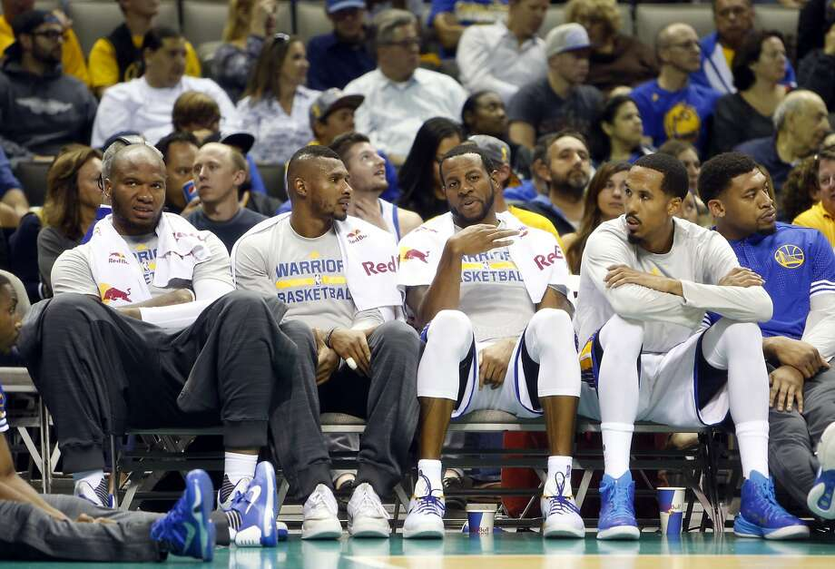 Golden State Warriors' Marreese Speights, Leandro Barbosa, Andre Iguodala and Shaun Livingston against Toronto Raptors during Warriors' 95-87 win in NBA preseason game at SAP Center in San Jose, Calif., on Monday, October 5, 2015. Photo: Scott Strazzante, The Chronicle