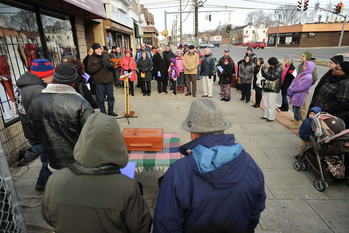 Pro Life demonstrators gather on the 42nd anniversary of Roe v. Wade outside the Summit Women's Center on Main Street in Bridgeport, Conn. on Thursday, January 22, 2015.