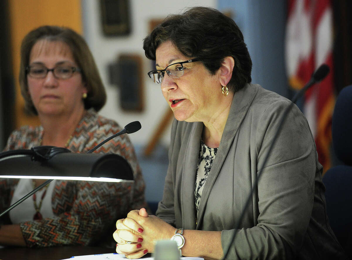 Chairperson Deborah Herbst addresses the public during the Trumbull Board of Education meeting at the Long Hill Administration Building in Trumbull, Conn. on Tuesday, October 6, 2015.