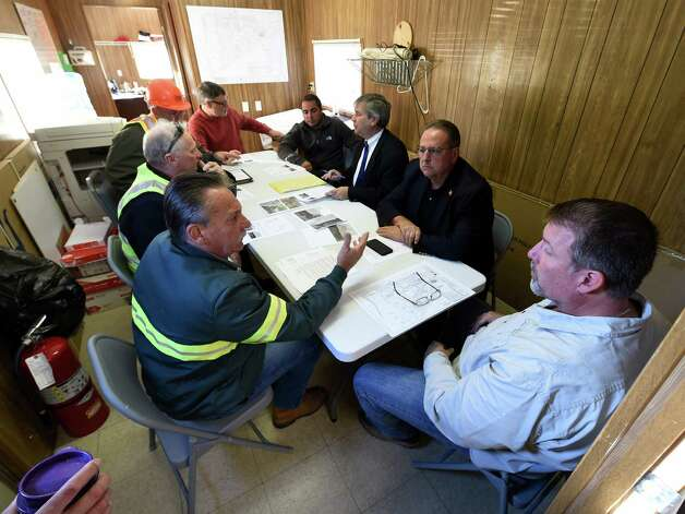 East Greenbush Town board members meet with contractors in an emergency session at the East Greenbush Water Treatment Plant Tuesday morning Oct. 6, 2015 in East Greenbush, N.Y.      (Skip Dickstein/Times Union) Photo: SKIP DICKSTEIN / 10033638A