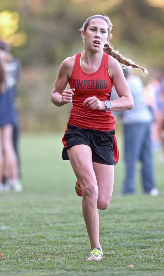 Ivy Walker, from Pomperaug High School, finished first in the girls high School cross country meet between Brookfield, Pomperaug and Newtown high schools on Tuesday, October 6, 2015, at Reed Intermediate School, Newtown, Conn. Photo: H John Voorhees III / Hearst Connecticut Media / The News-Times