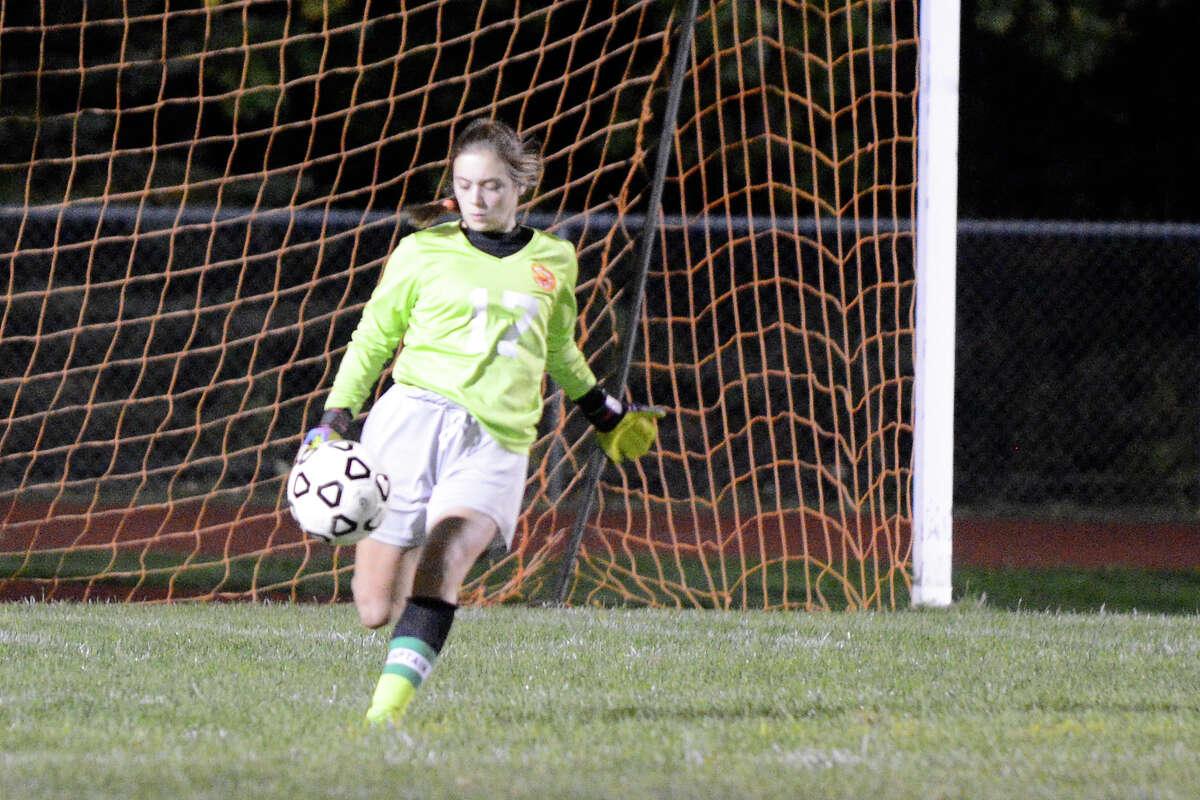 Masuk High School hosts Stratford High School in girls varsity soccer in Monroe, CT on Oct 6, 2015.