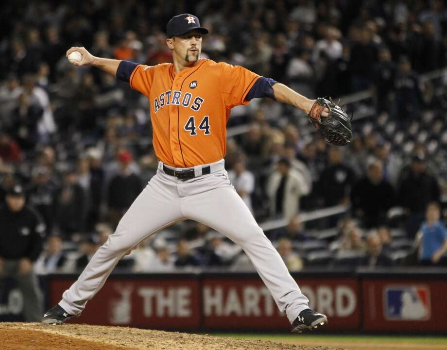 Houston Astros relief pitcher Luke Gregerson (44) pitches against the New York Yankees during ninth inning of the American League Wild Card game at Yankee Stadium on Tuesday, Oct. 6, 2015, in New York. ( Karen Warren / Houston Chronicle ) Photo: Houston Chronicle