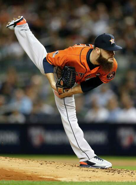 Pitching on three days' rest, Dallas Keuchel didn't go as deep into the game Tuesday night as he normally does, but he was as sharp as usual in his six-inning stint. Photo: Karen Warren, Staff / © 2015 Houston Chronicle