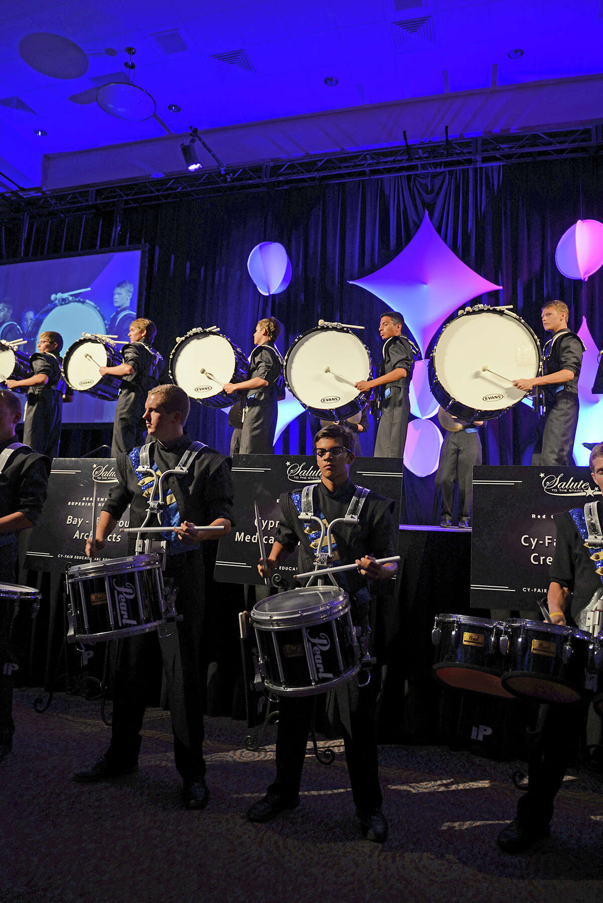 The Cypress Ranch High School drum line performs at the 17th annual Salute to the Stars Gala. This year's gala will begin at 7 p.m. Oct. 15 at the Berry Center.