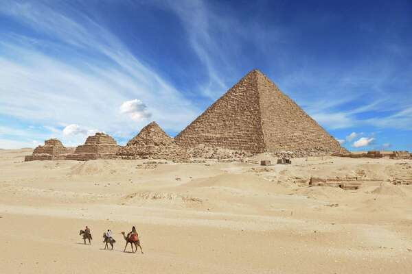 The Pyramids of Giza: the world's oldest tourist attraction.