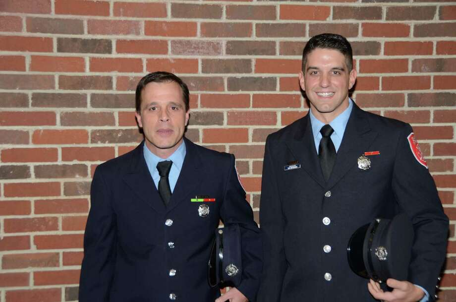 Danbury firefighters Rich Krikorian, left, and Ted Mourges were named fire lieutenants during a ceremony at city hall Wednesday morning. Photo: Contributed / Bernie Meehan Jr.