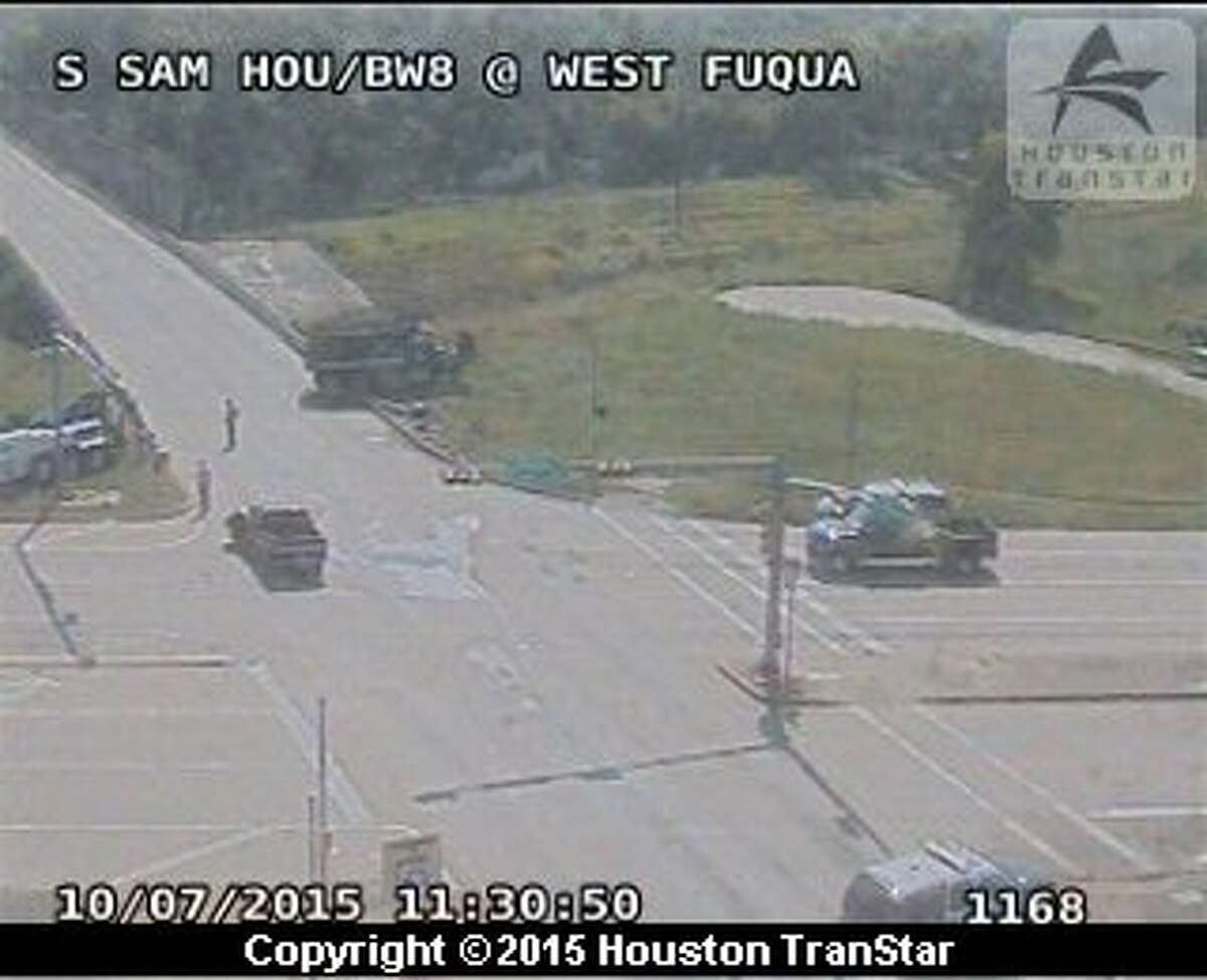A person died Wednesday morning, Oct. 7, 2015 when a dump truck and a car collided on Sam Houston Parkway in southwest Houston.