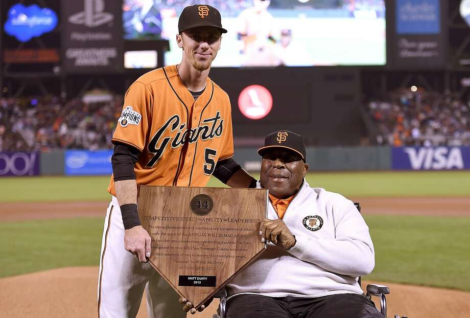 Matt Duffy with Willie McCovey after the awards ceremony Friday night at AT&T Park. Photo: Thearon W. Henderson, Getty Images