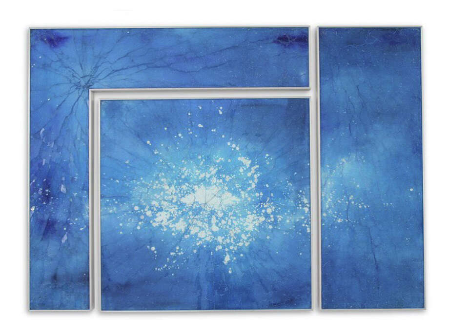 "Cassandria Blackmore's ""Blue Kapnos II,"" on painted glass is part of the ìNew Arrangements: Contemporary Reimagined,î exhibit at Heather Gaudio Fine Art, which recently moved to 66 Elm St. in downtown New Canaan. Photo: Contributed / Contributed Photo / New Canaan News"