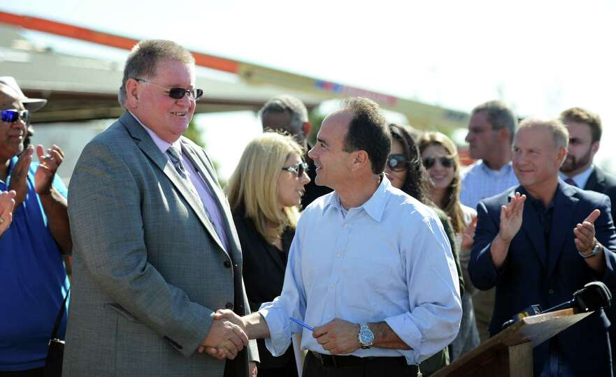 Bridgeport mayoral candidate Joe Ganim shakes hands with Local 488 Business Manager Peter Carroll We