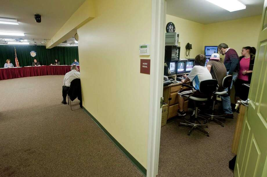 The control room at a town meeting in the New Fairfield Senior Center is shown. Thursday, Oct. 14, 2010 Photo: Scott Mullin / ST / The News-Times Freelance