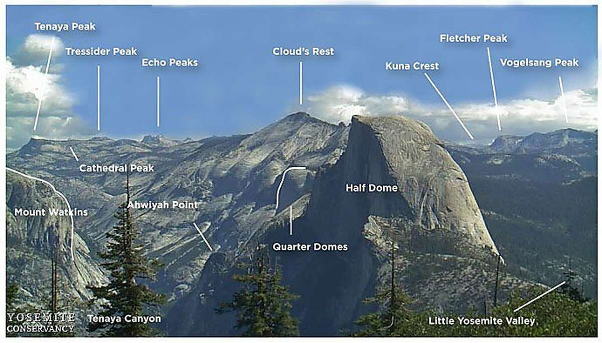 This ID chart in photo identifies the prominent mountaintops and points of landscape visitors to Yosemite National Park can see from the lookout at Glacier Point.