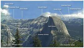 This ID chart in photo identifies the prominent mountaintops and points of landscape visitors to Yosemite National Park can see from the lookout at Glacier Point