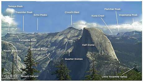 This ID chart in photo identifies the prominent mountaintops and points of landscape visitors to Yosemite National Park can see from the lookout at Glacier Point. Photo: Yosemite Conservancy