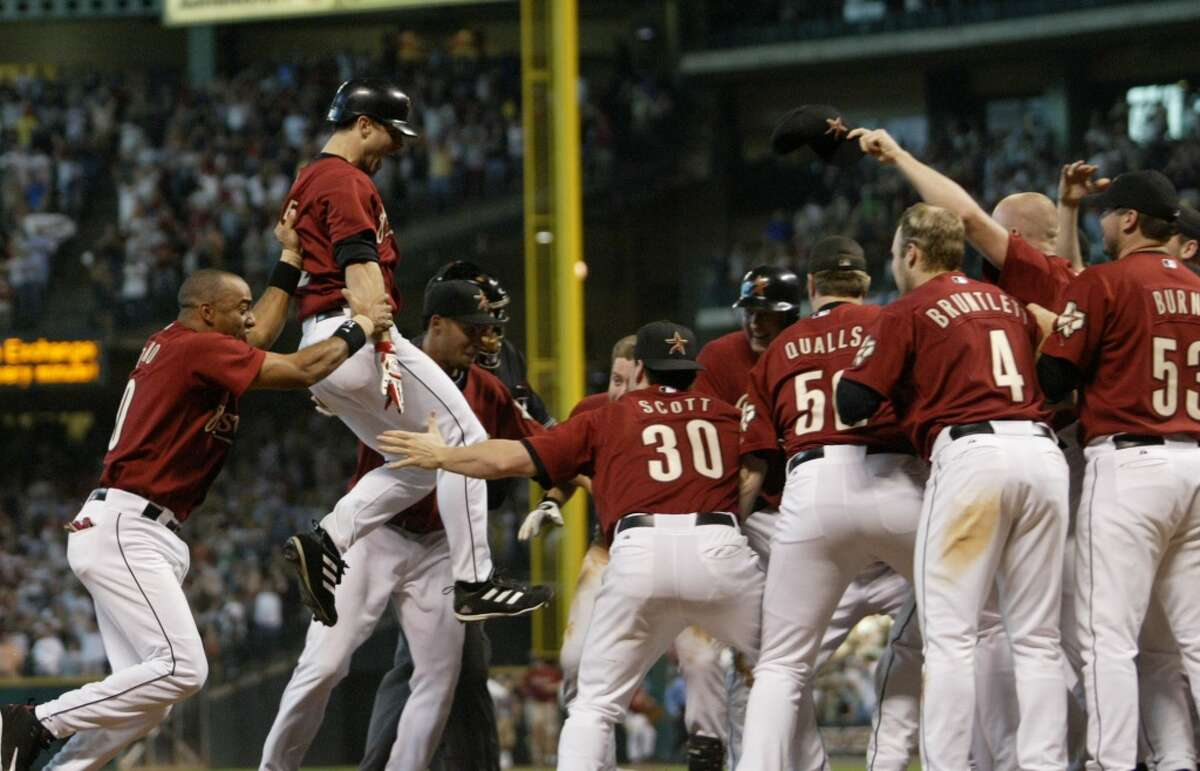 For the fifth time in nine years, the Astros and Braves met in an NL Division Series. (The Braves won the first three meetings in 1997, 1999 and 2001 before the Astros won a playoff series for the first time in 2004.) Trying to force a trip back to Atlanta for Game 5, the Braves held a 6-1 lead after 7½ innings. Lance Berkman made it 6-5 with a grand slam in the bottom of the eighth, and Brad Ausmus homered in the ninth to tie the score at 6.That's how things stayed until the bottom of the 18th, when Chris Burke hit a walkoff solo homer to give the Astros the game and the series.