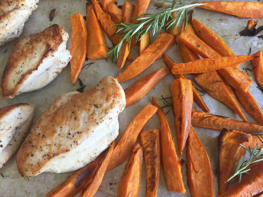 Pan-Roasted Chicken Breasts with Sweet Potato Wedges Photo: Amanda Gold
