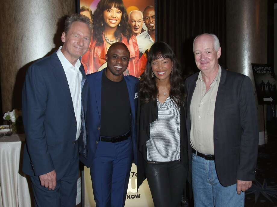 (L-R) Actors Ryan Stiles, Wayne Brady, Aisha Tyler and Colin Mochrie attend the 'Whose Line Is It Anyway?' breakfast buffet at the CBS, Showtime and The CW portion of the 2013 Summer Television Critics Association tour at the Beverly Hilton Hotel on July 30, 2013 in Beverly Hills, California.