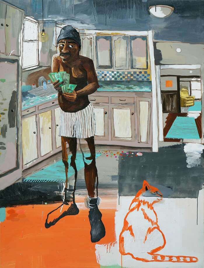 """ _____ Counting His Money,"" 2015, acrylic on wood panel (36 x 48 in.), by Oakland painter Cate White, whose recent work is on view at the Luggage Store Gallery through November 7.  Credit: Courtesy of Cate White Photo: Courtesy Of Cate White"