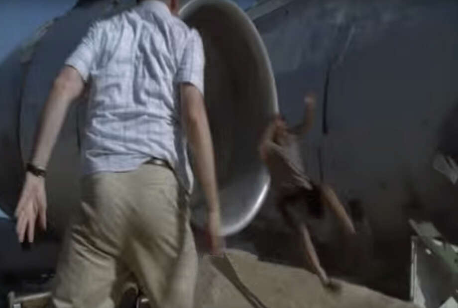 "V97.33 — Sucked into jet engine. One minute you're relieved you've survived the plane crash in the opening episode of ""Lost,"" the next minute -- whoosh! Photo: YouTube"