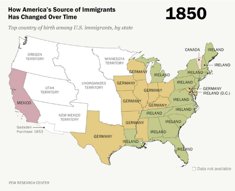 1850 Ireland and Germany show a strong representation in the nation's map early on.  Pew Research Center Photo: Pew Research Center