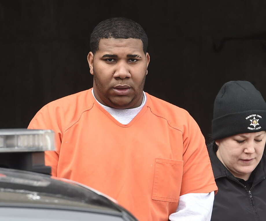 Henzlee Miranda, in Febrary, when he was being led from the Schenectady City Court after his arraignment on attempted murder 2nd degree and assault in Schenectady, N.Y.  (Skip Dickstein/Times Union)