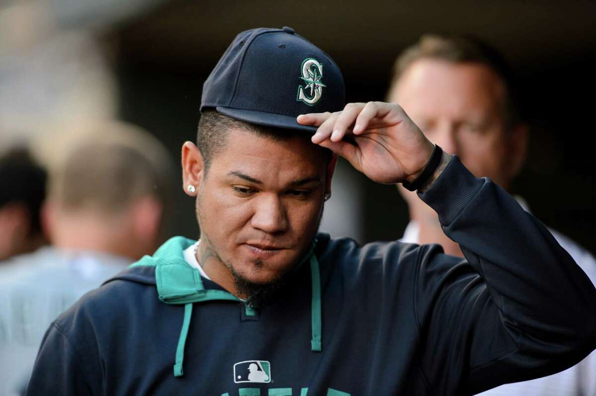 MINNEAPOLIS, MN - Felix Hernandez #34 of the Seattle Mariners looks on before the game against the Minnesota Twins on July 30, 2015 at Target Field.