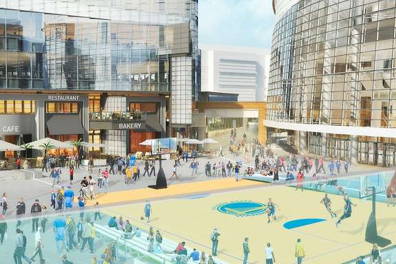 This is the new design for the plaza at the proposed Warriors Arena. The new design emphasizes open space.