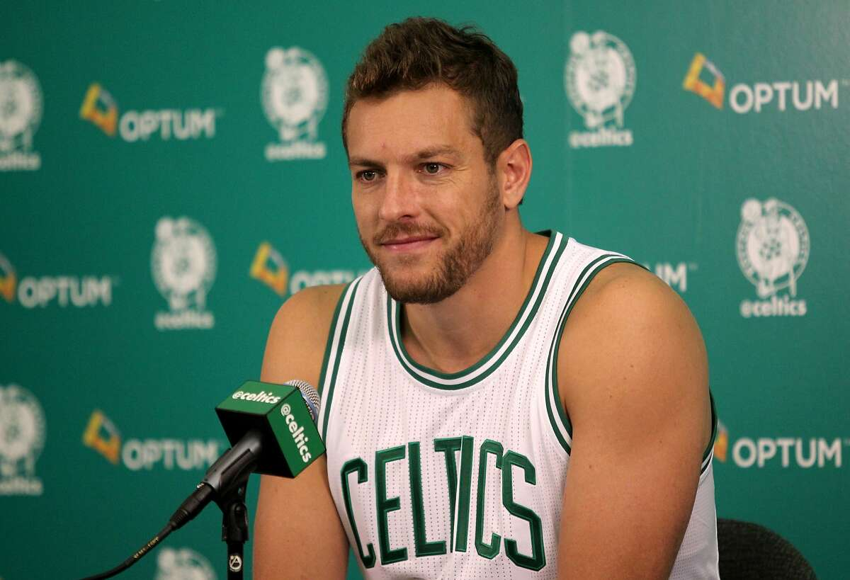 Boston Celtics player David Lee listens to a question during the Boston Celtics media day at their training facility in Waltham, Mass., Friday, Sept. 25, 2015. (AP Photo/Mary Schwalm)