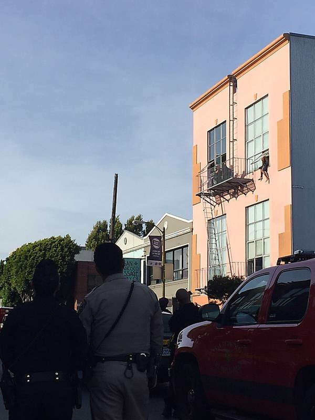 A car theft suspect dangles from the window of a building at 10th and Harrison streets in San Francisco. ,