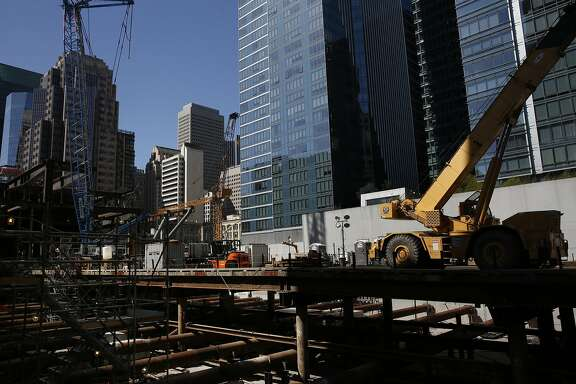 The construction site for the Transbay Transit Center Oct. 6 2015 in San Francisco, Calif.