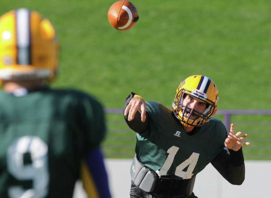 UAlbany QB DJ Crook, (14) ,during practice  at Bob Ford Field on Wednesday  Oct. 7, 2015 in Albany , N.Y.  (Michael P. Farrell/Times Union) Photo: Michael P. Farrell / 10033656A