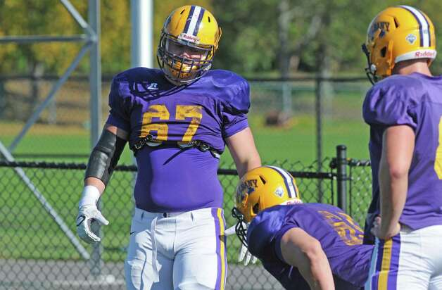 UAlbany OL Kevin Malloy ,(67), during practice at Bob Ford Field on Wednesday  Oct. 7, 2015 in Albany , N.Y.  (Michael P. Farrell/Times Union) Photo: Michael P. Farrell / 10033656A