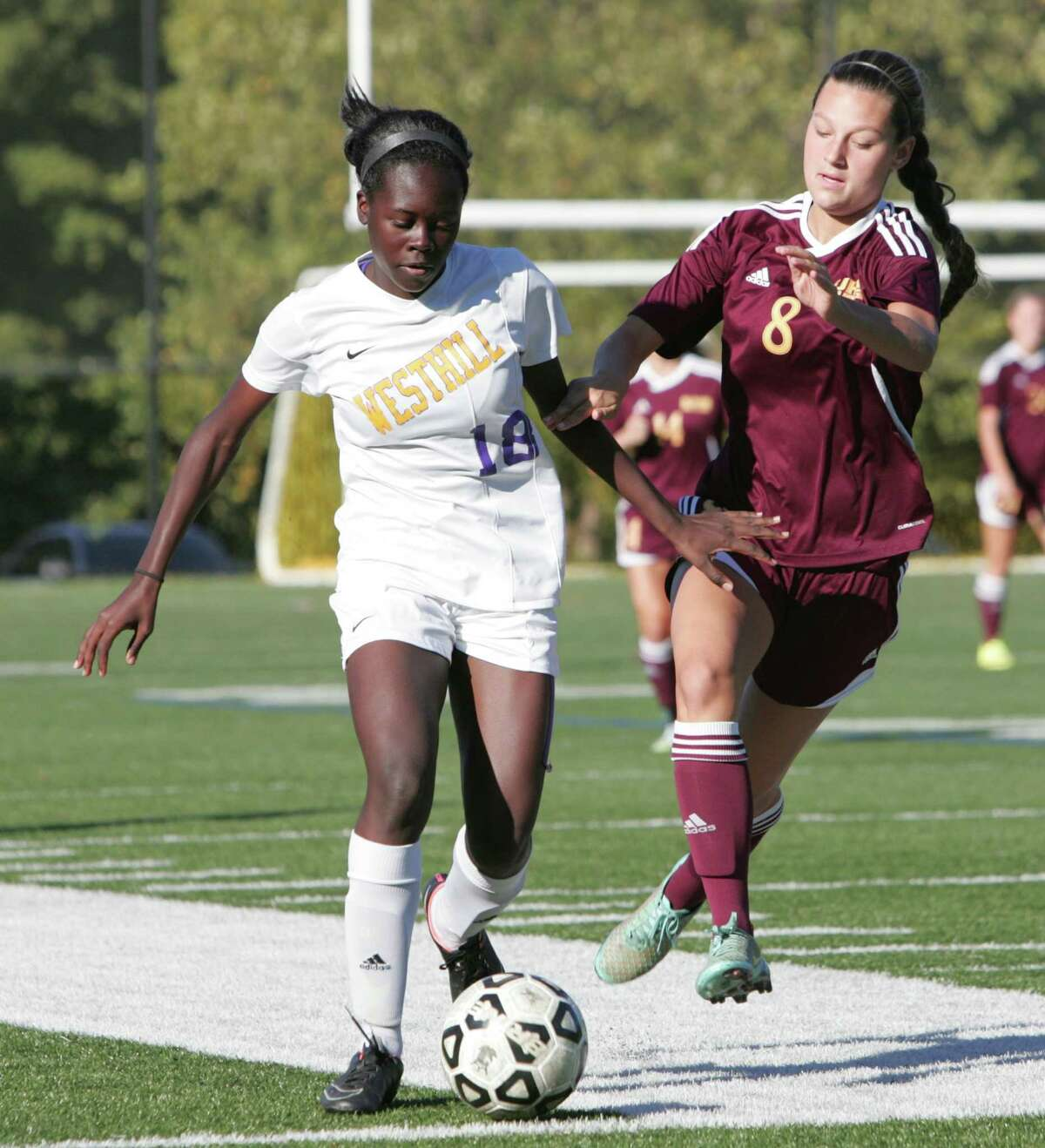 St. Joseph defeated Westhill 4-3 in a girls varsity soccer game played in Stamford, Conn. on Oct. 7, 2015.