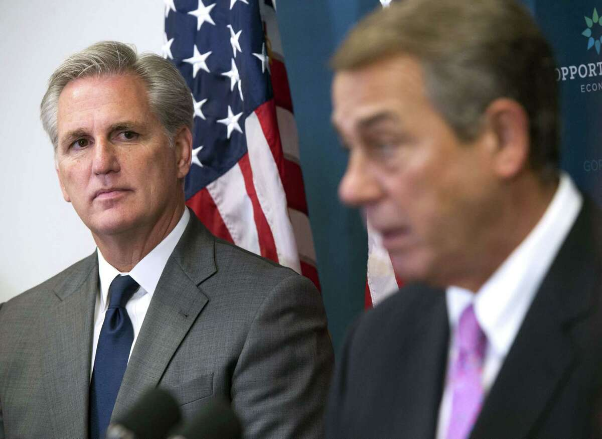 House Majority Leader, Rep. Kevin McCarthy,R-Calif., looks on as Speaker of the House John Boehner, R-Ohio, speaks following the weekly House Republican Conference meeting at the Capitol in Washington, D.C., October 7, 2015.(Saul Loeb/AFP/Getty Images)
