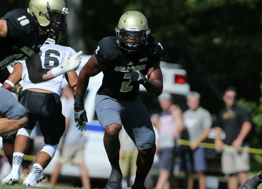 Former Danbury High player Aaron Dixon is a senior starting linebacker for the Bryant University football team. Photo: David Silverman / Contributed / News-Times Contributed