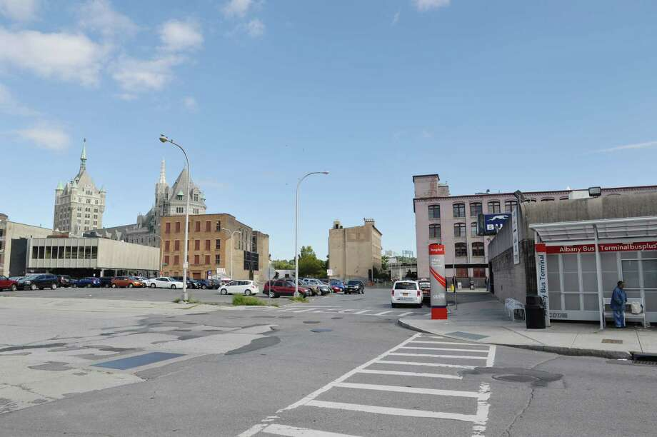 A view of the Greyhound Bus station, right, and the parking lots nearby, at the south end of downtown Albany, where a massive new development has been proposed.  (Paul Buckowski / Times Union) ORG XMIT: MER2015100715385320 Photo: PAUL BUCKOWSKI / 10033641A