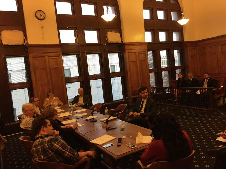 Members of the Albany Common Council's law and codes committee interview Robert Magee, Mayor Kathy Sheehan's pick for director of the Department of Buildings and Regulatory Compliance, on October 7, 2015. (Jordan Carleo-Evangelist/Timesunion