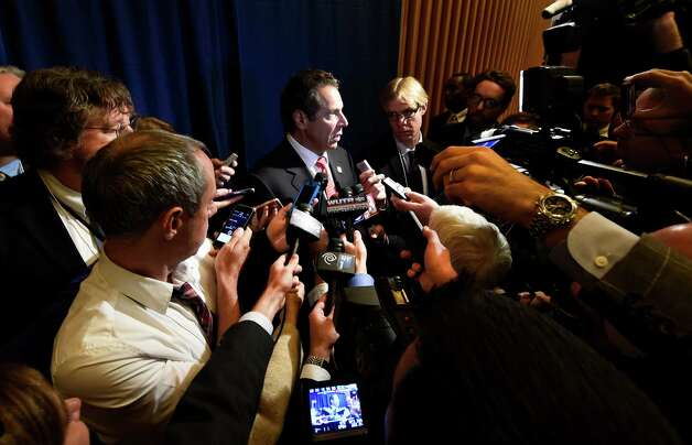 Gov. Andrew Cuomo holds a press availably after attending the Beer, Wine, Spirits and Cider Summit held in the Hart Lounge at the Empire State Plaza Wednesday, Oct. 7, 2015, in Albany, N.Y.  (Skip Dickstein/Times Union) Photo: SKIP DICKSTEIN / 10033665A