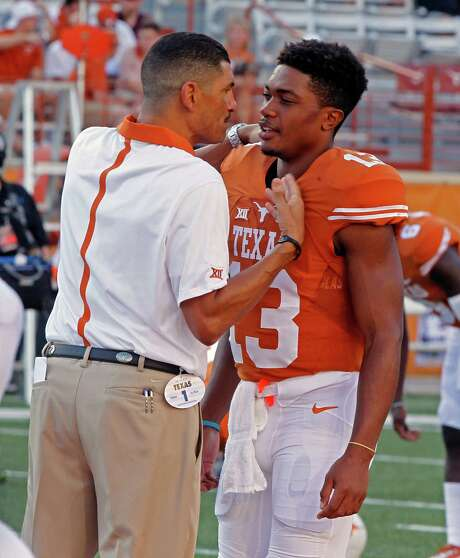 """Offensive coordinator Jay Norvell, left, and quarterback Jerrod Heard have been vocal in their attempts to keep the Longhorns together, with Norvell saying """"we've got to fight our way out of this mess"""" and Heard offering a simple """"chill out."""" Photo: Michael Thomas, FRE / FR65778 AP"""