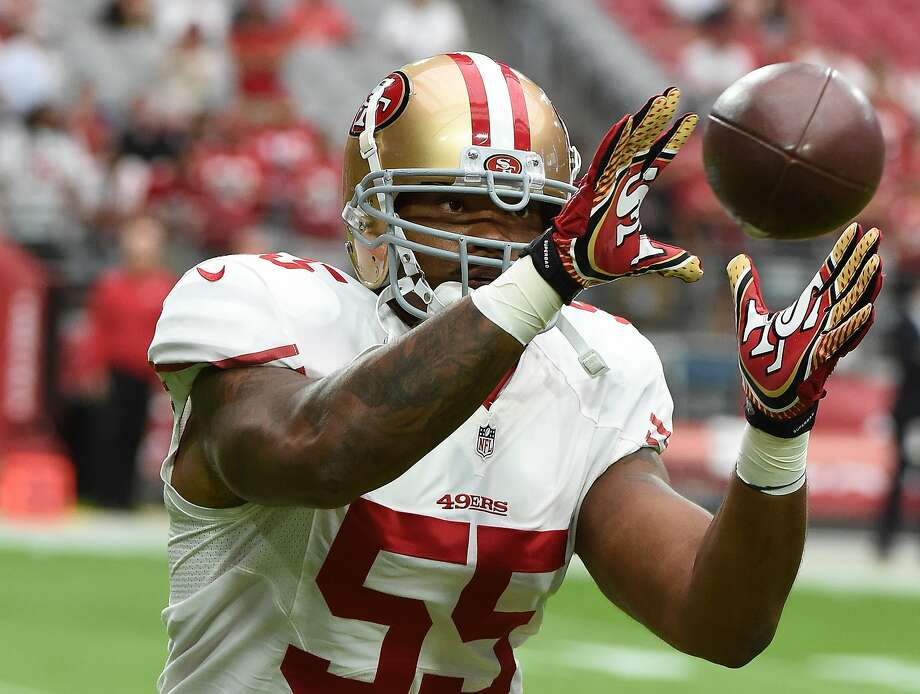 GLENDALE, AZ - SEPTEMBER 27:  Ahmad Brooks #55 of the San Francisco 49ers prepares for a game against the Arizona Cardinals at University of Phoenix Stadium on September 27, 2015 in Glendale, Arizona.  (Photo by Norm Hall/Getty Images) Photo: Norm Hall, Getty Images