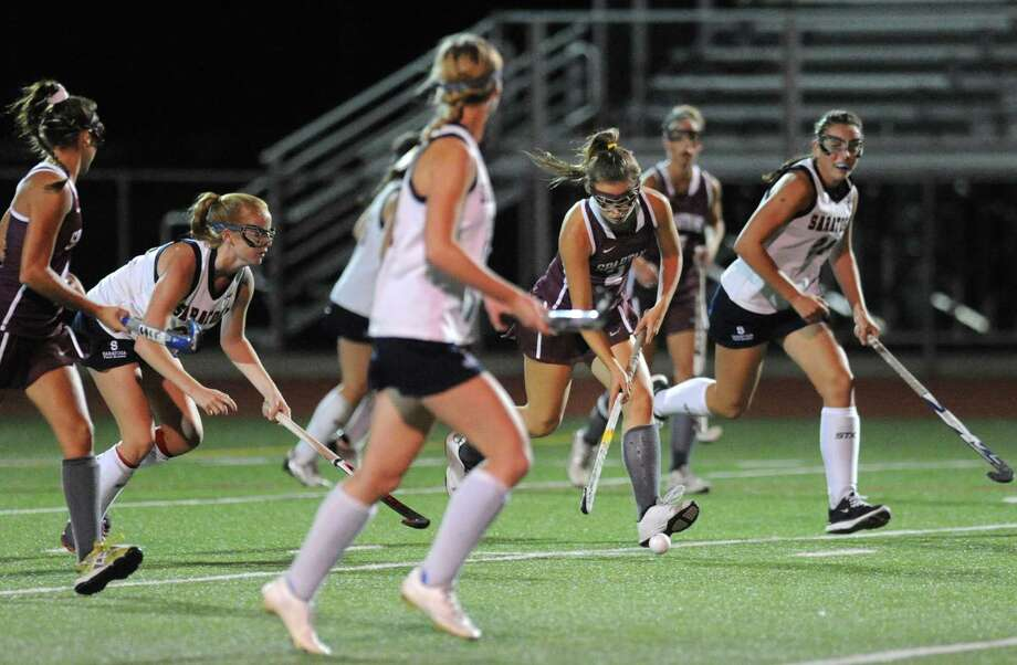 Burnt Hills Danielle Kempf brings the ball up field  during their high school field hockey game against Saratoga on Wednesday Oct. 7, 2015 in Schuylerville, N.Y.  (Michael P. Farrell/Times Union) Photo: Michael P. Farrell / 10033660A