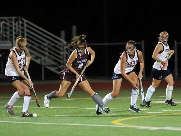 Saratoga's Maggie Conway brings the ball up field during their high school field hockey game against Burnt Hills on Wednesday Oct. 7, 2015 in Schuylerville, N.Y.  (Michael P. Farrell/Times Union) Photo: Michael P. Farrell / 10033660A