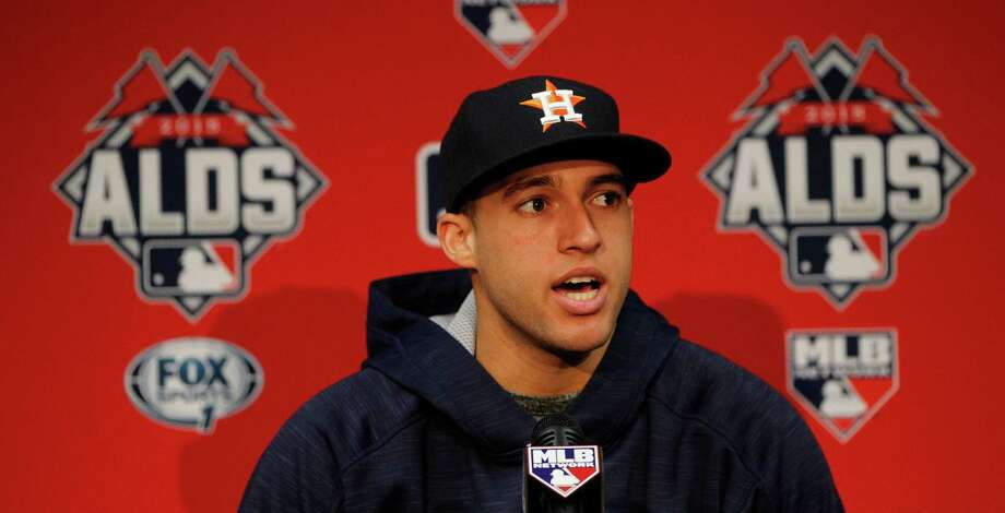 "Astros right fielder George Springer says he harbors no ill will toward Royals pitcher Edison Volquez, who broke Springer's right wrist with a pitch July 1. Said Springer: ""It's just a part of the game."" Photo: Karen Warren, Staff / © 2015 Houston Chronicle"